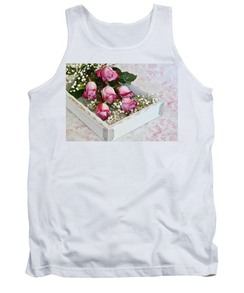 Pink And White Roses In White Box Tank Top