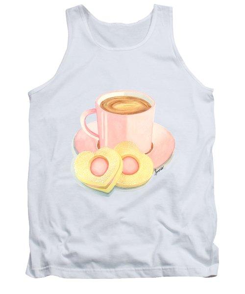 Pink Cup Coffee Served With Cookies Tank Top by Sonja Taljaard