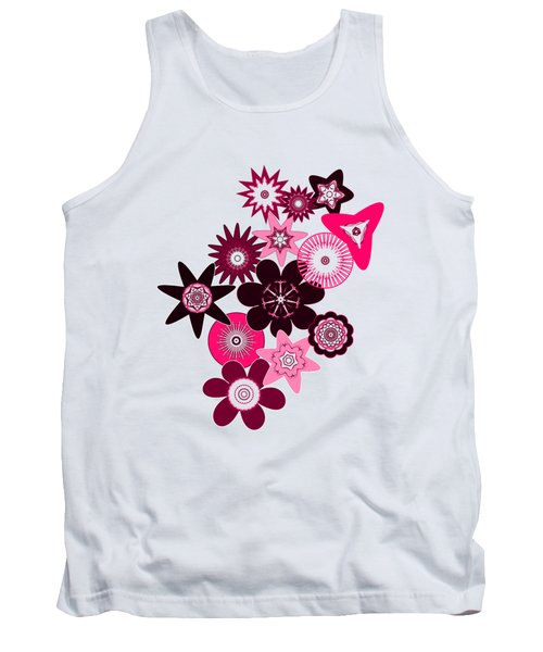 Pink Funky Flowers Tank Top by Methune Hively