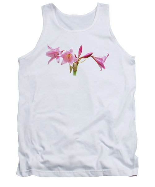Pink Lilies On Black Tank Top by Gill Billington