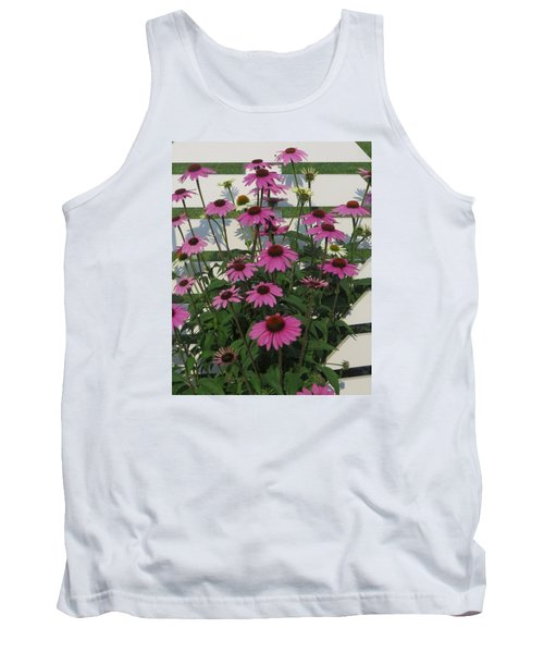 Tank Top featuring the photograph Pink On The Fence by Jeanette Oberholtzer