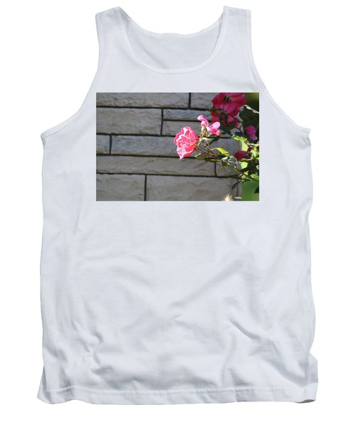Pink Rose Against Grey Bricks Tank Top