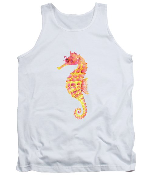Pink Yellow Seahorse Tank Top by Amy Kirkpatrick