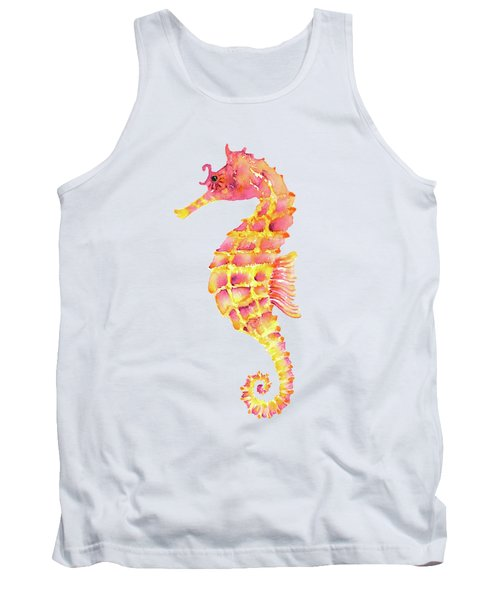 Pink Yellow Seahorse - Square Tank Top by Amy Kirkpatrick