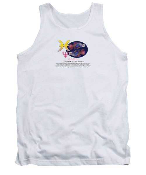 Pisces Sun Sign Tank Top by Shelley Overton