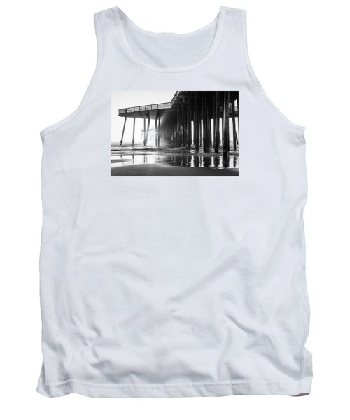 Pismo Pier Black And White Sunset Tank Top