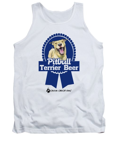 Pit Bull Terrier Beer Tank Top by John LaFree