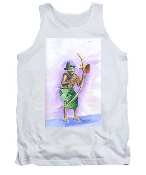 Tank Top featuring the painting Player Umuduri From Rwanda by Emmanuel Baliyanga