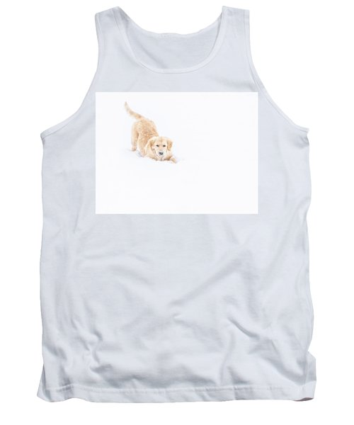 Playful Puppy In So Much Snow Tank Top