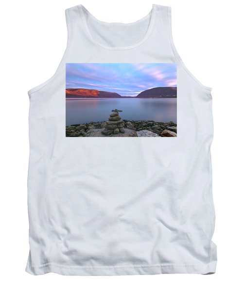 Plum  Point Rock Cairn At Sunset Tank Top by Angelo Marcialis