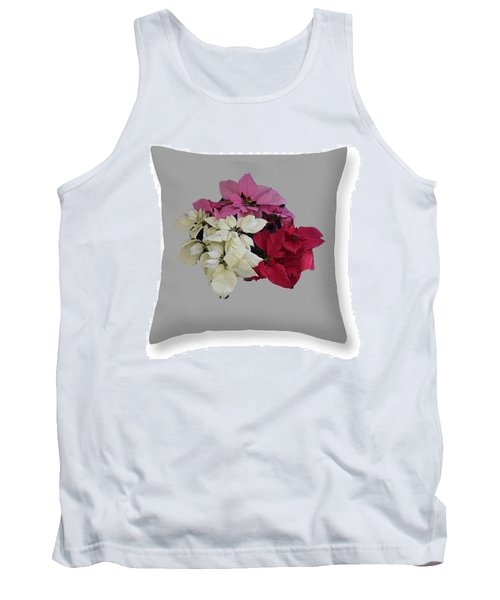 Tank Top featuring the photograph Poinsettias Pillow Grey Background  by R  Allen Swezey