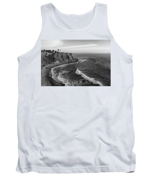 Point Vicente Lighthouse Palos Verdes California - Black And White Tank Top