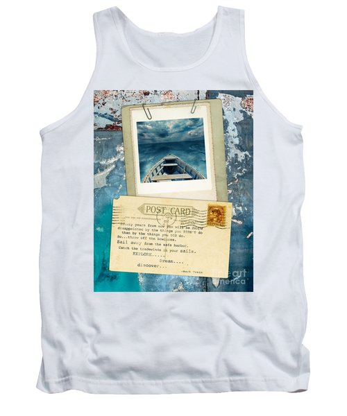 Poloroid Of Boat With Inspirational Quote Tank Top by Jill Battaglia