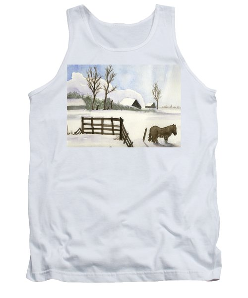 Tank Top featuring the painting Pony In The Snow by Annemeet Hasidi- van der Leij