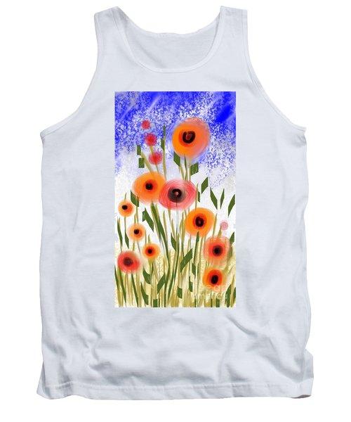 Tank Top featuring the digital art Poppy Garden by Elaine Lanoue