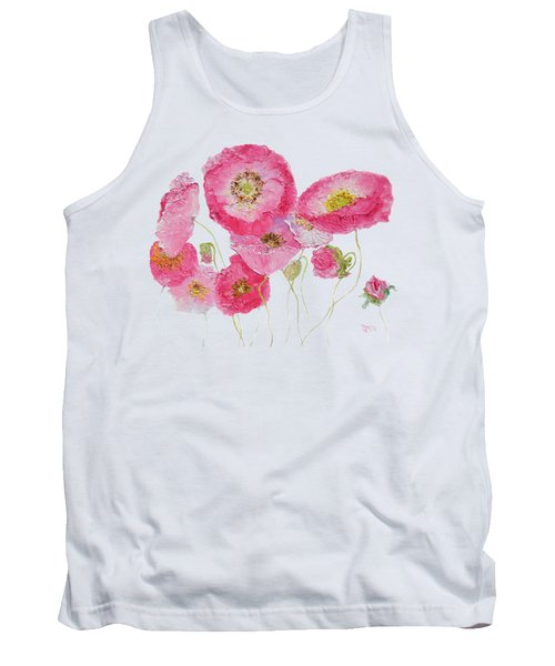Poppy Painting On White Background Tank Top