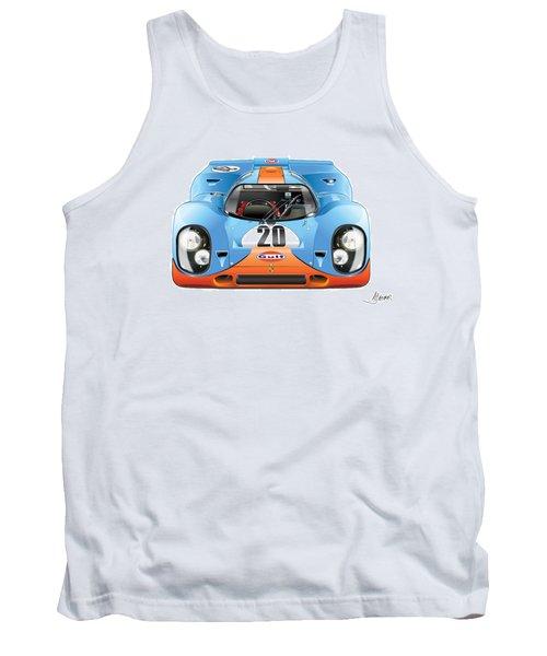 Porsche 917 Gulf On White Tank Top