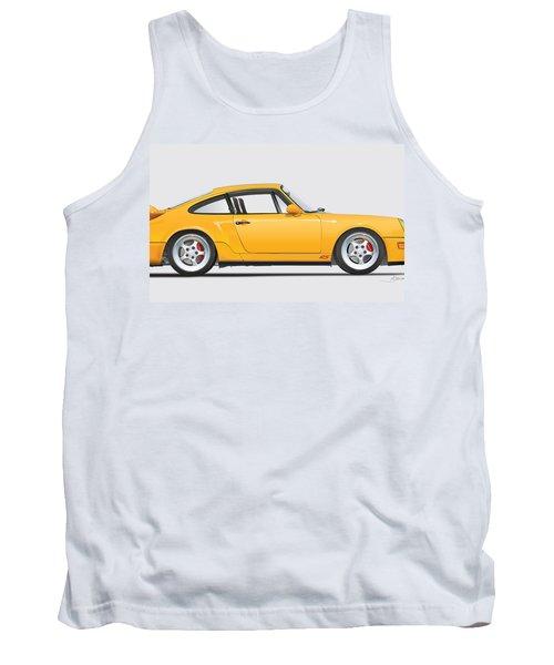 Porsche 964 Carrera Rs Illustration In Yellow. Tank Top by Alain Jamar