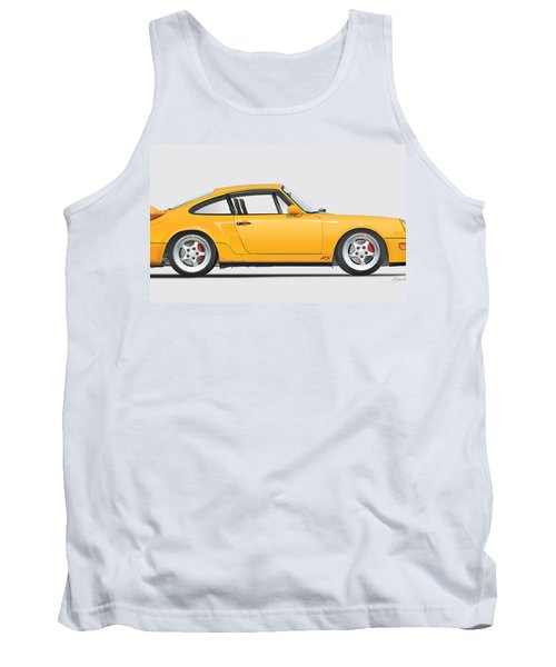 Porsche 964 Carrera Rs Illustration In Yellow. Tank Top