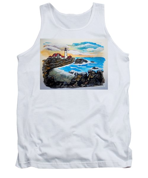 Porthead Lighthouse Maine In Watercolors Tank Top