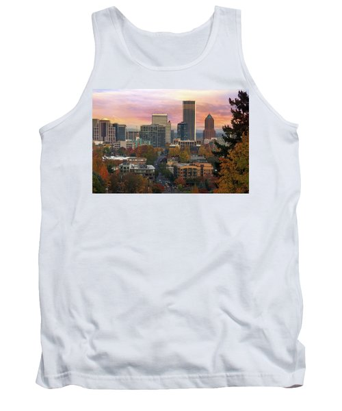 Portland Downtown Cityscape During Sunrise In Fall Tank Top
