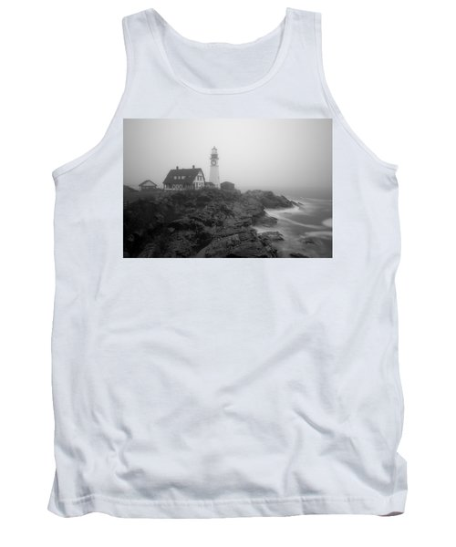 Portland Head Lighthouse In Fog Black And White Tank Top