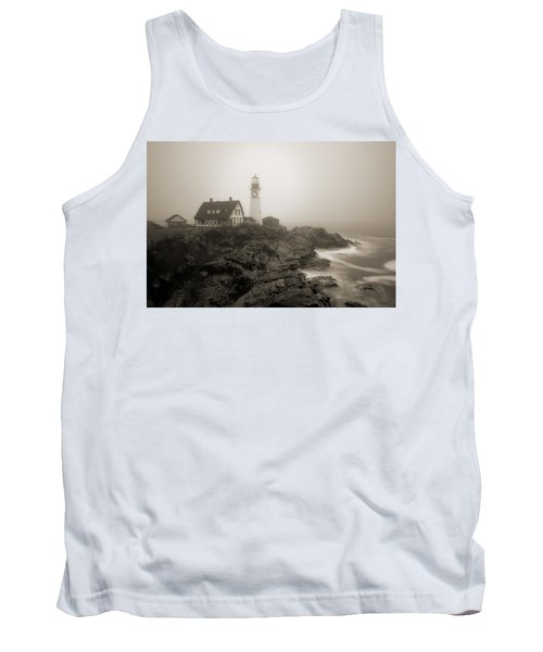 Portland Head Lighthouse In Fog Sepia Tank Top
