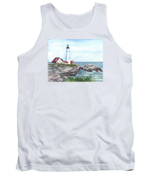 Portland Head Lighthouse Maine Usa Tank Top by Carol Wisniewski