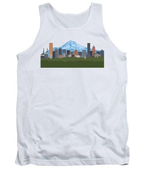 Portland Oregon Skyline Color Illustration Tank Top