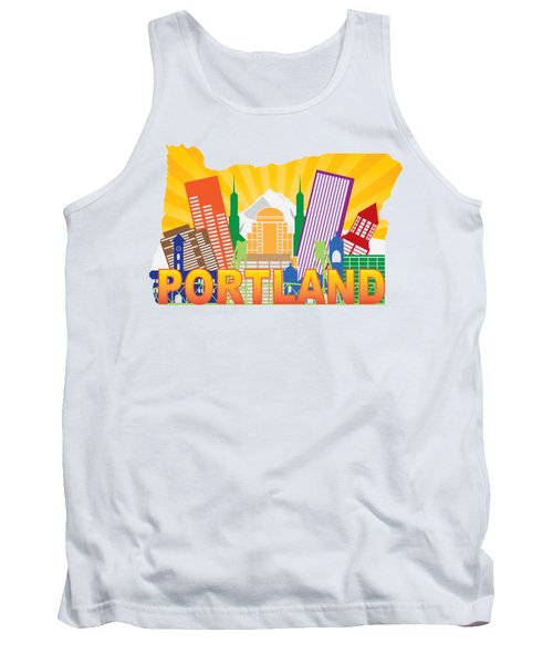 Portland Oregon Skyline In State Map Tank Top by Jit Lim