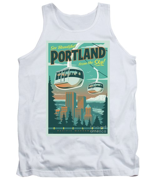 Portland Tram Retro Travel Poster Tank Top