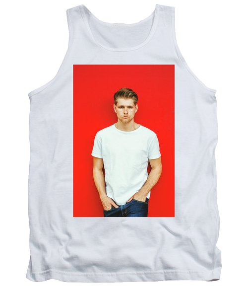 Portrait Of Young Handsome Man Tank Top