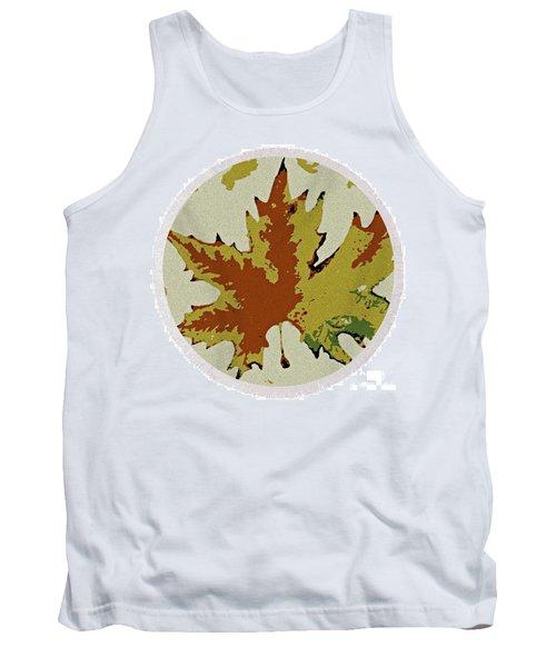 Posterised Autumn Leaf - Round Beach Towel Tank Top