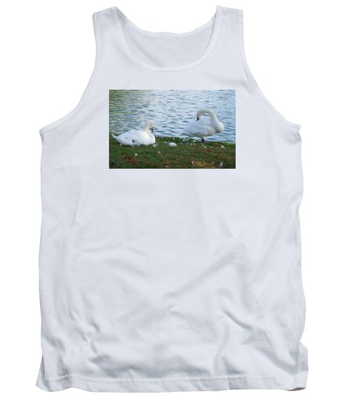Tank Top featuring the photograph Preening Swans by Cathy Donohoue