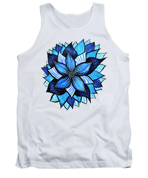 Pretty Abstract Blue Mandala Like Flower Drawing Tank Top