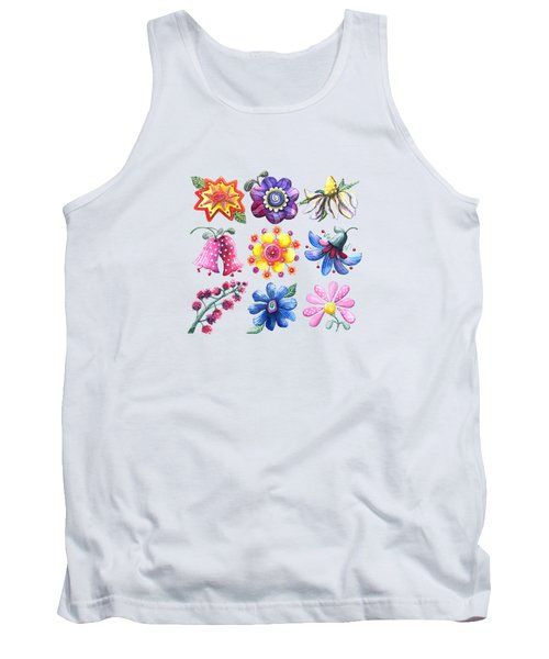 Pretty Flowers All In A Row Tank Top
