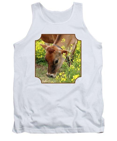 Pretty Jersey Cow Square Tank Top by Gill Billington