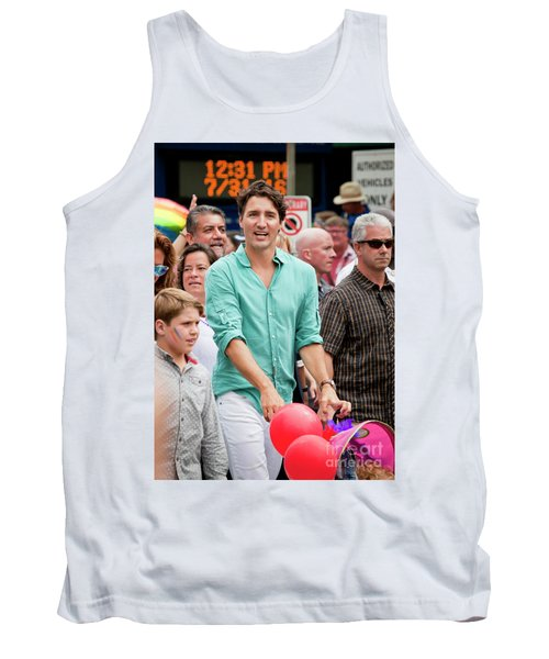 Tank Top featuring the photograph Prime Minister Justin Trudeau by Chris Dutton