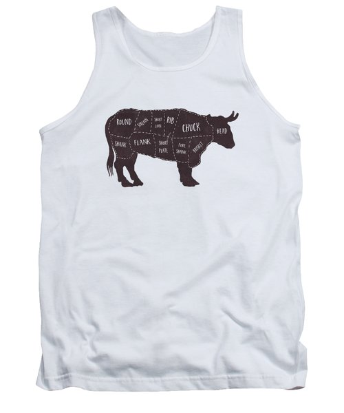 Primitive Butcher Shop Beef Cuts Chart T-shirt Tank Top by Edward Fielding