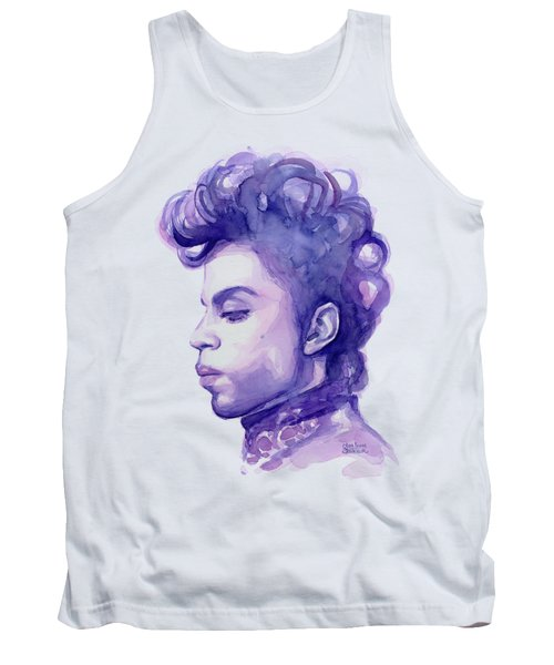 Prince Musician Watercolor Portrait Tank Top by Olga Shvartsur