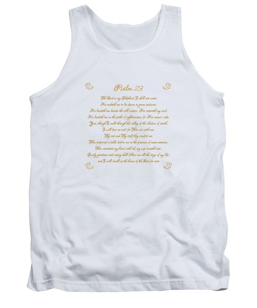 Psalm 23 The Lord Is My Shepherd Gold Script On White Tank Top