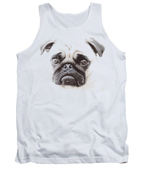 Pug Dog -  Parallel Hatching Tank Top