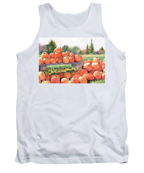 Tank Top featuring the painting Pumpkins For Sale by Vikki Bouffard