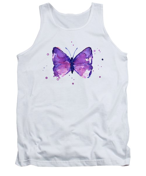 Purple Abstract Butterfly Tank Top