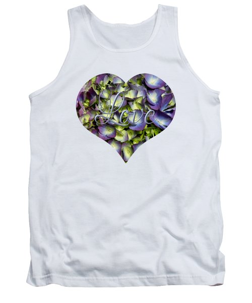 Purple And Cream Hydrangea Flowers Heart With Love Tank Top