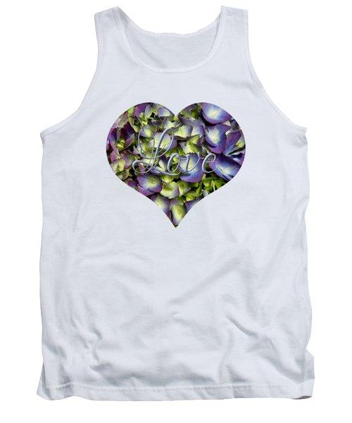 Purple And Cream Hydrangea Flowers Heart With Love Tank Top