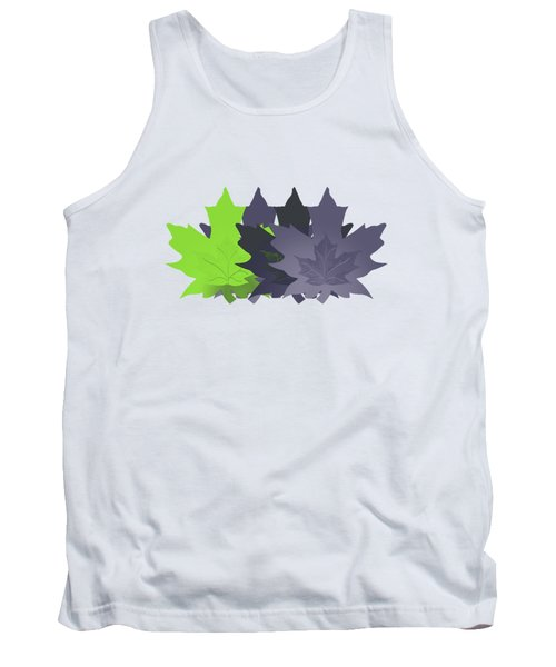 Purple And Green Leaves Tank Top by Methune Hively