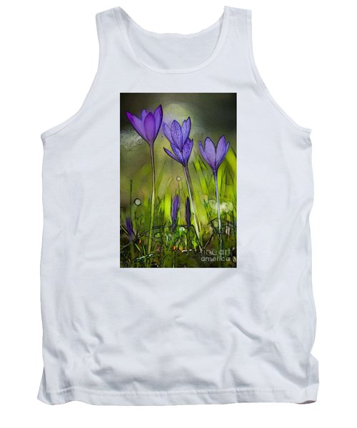 Tank Top featuring the photograph Purple Crocus Flowers by Jean Bernard Roussilhe