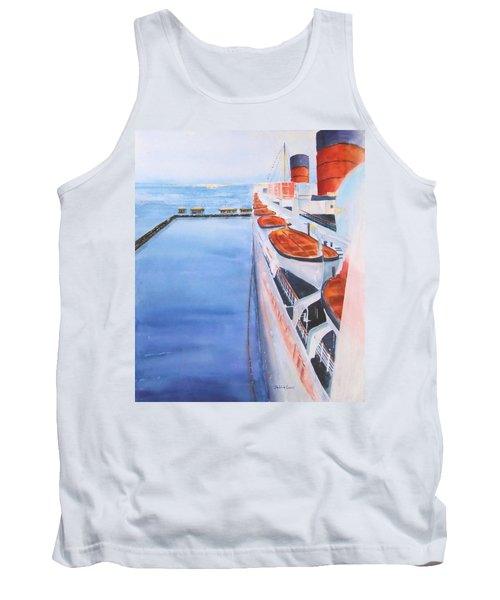Queen Mary From The Bridge Tank Top by Debbie Lewis