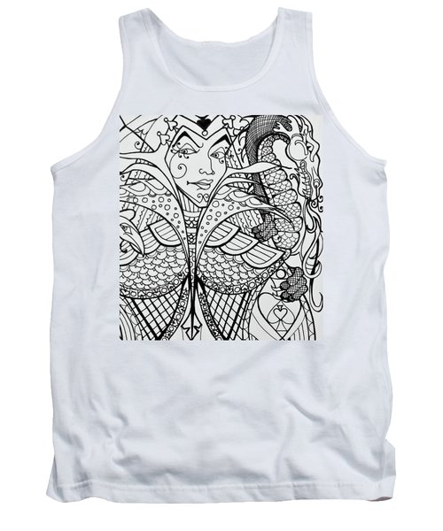 Queen Of Spades Close Up With Dragon Tank Top